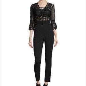 NWT Self Portrait Black Lace Trimmed Jumpsuit